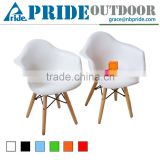 Retro Modern Colorful Metal Natural Wood Dowel Leg Base Plastic Molded Armchair French Kid Dining Chair