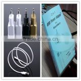 OEM black white gold logo printing retail package with micro cable US EU plug 5v 1.5a lcd universal charger