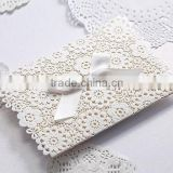 Romantic & pure white floral laser cut folded wedding invitations with bow for wedding