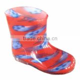 plain printing with transparent sole new design waterproof rain boot,comfortable kids footwear