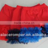 Wholesale Red Cotton Short Pants Chiffon Ruffles Baby Girls cotton balloon pants for girls