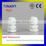 Professional manufacture high quality 100PCS Hot Sale IP68 Waterproof Nylon Plastic Cable Gland Connector PG7 for 3-6.5mm Cable