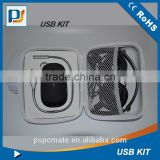 White and Black color USB Mouse Travel Cable Kit Bag Tools usb kit, laptop tool kit driver for PC