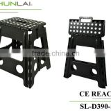 Cheap plastic folding step stool/fish stool for family portable black foot stool SL-D390-2A