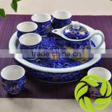 China wholesale professional hand printing bone teaset 350ml tea kettle and 6pcs 100ml teacup and ceramic tea tray