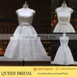 Newest Style Sleeveless Appliqued Sash Patterns Of Lace Tea Length Wedding Dresses