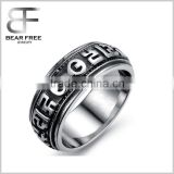 The Ring Can Spin New Design Men's Gothic Old Word Lucky Rings Stainless Steel Rings