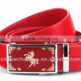 2013 genuine Leather Belt with fashion red hourse buckle for men wholesale gaungzhou China factory