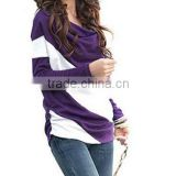 2015 lastest longest Sleeve Color split slant Pockets Boat Neck Shirt