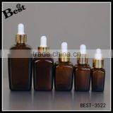 15ml 30ml 100ml eye face essential oil cosmetic packaging amber square glass dropper bottle