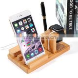 Bamboo Wood 3 in 1 Office Home Desk Cradle Holder with Phone Tablet Stand Wooden Holder