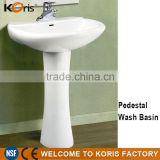 Long Lasting White artificial Ceramic Bathroom Hand Pedestal wash basin bathroom sink                                                                         Quality Choice