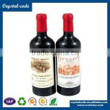 Alibaba whlesale private label wine bottle metal custom shape wine neck adhesive wine sticker