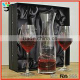 frosted logo wine glass and decanter set with gift box/luxury wine decanter set