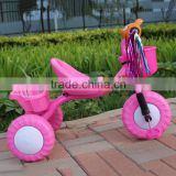 2016 two basket pink color baby ride o toy plastic tricycle