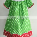 Green with white polka dots children wholesale christmas tree machine smocked bishop dress
