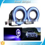 "High Power 2.5"" 3"" 3.5"" cob 10W Projector Universal LED Fog Light w/ Blue COB Halo Angel Eye Rings"