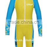 Kid's Sky Blue and Yellow Long Sleeve Short Leg UV Sun protection Suit/Overall Suit/Swimming Suit
