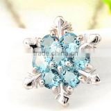 Cheap 2016 new XMAS Gift Blue Crystal Snowflake Frozen Flower Silver Plated Necklace Pendant