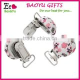 Cloth Pattern Printed Round Wooden Baby Pacifier Clip Holders