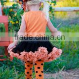 Promotion Halloween Apparel Children's Clothing Dress set Orange tank Black Tutu Skirt with leg warmers