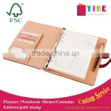 25K PU leather planner with metal buckle custom business organizer agenda emboss/gold stamp logo