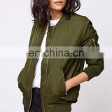 New design Women's BomerJacket Nylon Jacket flight Jacket baseball Jacket with zipper Pocket