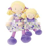 New Kids Toy Handmade Rag Plush Baby Doll Wholesale Cheap Dress Up Pretty Purple Stuffed Soft Plush Girl Doll Toy