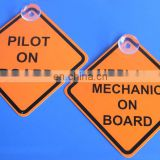 Plastic pilot on board suction cup window sign for airplane