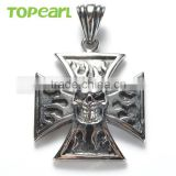 Topearl Jewelry 2016 New Style Men's Stainless Steel Gothic Skull Pendant Maltese Iron Cross MEP478