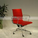 Replica European classic Chrome Aluminum frame Chinese Genuine Leather lifting swivel Charles and Ray Low Back Office chair