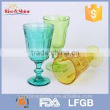 decorated machine press embossed glass tumbler wholesale/hot selling drinking glass tumbler set