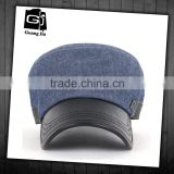 promotional customized cheap camp style 5 panel blue jeans cap with leather patch