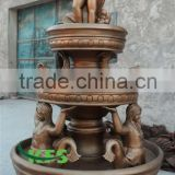 Bronze small baby holding fish fountain sculpture