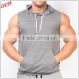 NEW Muscle Gym Deep Cut Training Sleeveless Hoody Cotton Sport work out tank top for males and females                                                                         Quality Choice