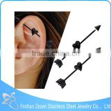 Competitive price black piercing barbell heart shaped industrial arrow earrings