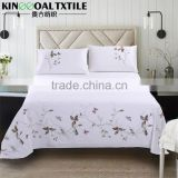 Natural 100% Cotton 300TC King/ Queen Single size flat hand embroidery bed sheet                                                                         Quality Choice