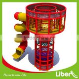 Indoor Trampoline Spider Clmbing Tower with Playground Tube Slide