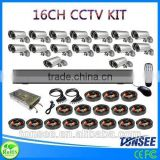 Digital Camera kit mittens baby 16CH CCTV DVR with 800TVL CMOS IR bullet Cameras dvr kit