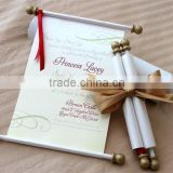 gold vintage metal bar scroll box with butterfly ribbon wedding invitations card                                                                         Quality Choice