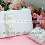 Elegance white rose flower wedding guest book /wedding pen holder/wedding accessories series--WA001