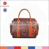 Hot Style And Selling Deep Coffee Genuine Leather Handbag,Soft Handle Handbag,Wholesale Party Handbags