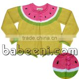 Hand embroidery watermelon girl sweater