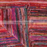 Pink Color theme Hand loomed Rag Rug, Floor Mat, yoga mat , Vintage Throw, Chindi Durrie Carpet hand made in India from vintage