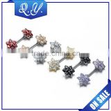 Colored Barbell Zircon Nipple Rings Unusual 316l Surgical Steel Vintage With Zircon Sexy Shield Nipple Piercing Jewelry