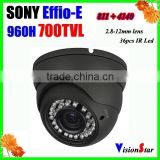 Color security cctv camera module 960h 700tvl sony Effio-E 811+4140 motion detection 2.8-12mm varifocal lens metal video camera