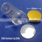 China supplier capsule/tablet/pill bottle,200ml clear bottle with golden cap pill bottle