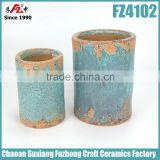 Cylinder shaped ceramic blue glazed flower pot