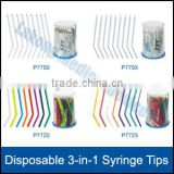 Disposable dental Syringe tips clear exterior multicolored interior
