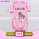 2016 USA apparel summer long sleeves infant clothes baby romper gown print heart pattern infant night robe baby romper for lover